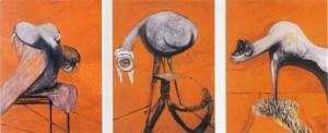 Francis Bacon : Trois études de personnages au pied d'une Crucifixion